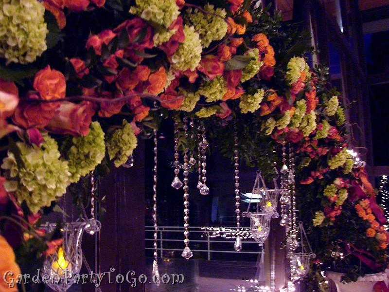 Flowers, green, orange, Candles, Hanging, Arch, Crystals, Gardenpartytogocom, Swarovski, Flowers & Decor