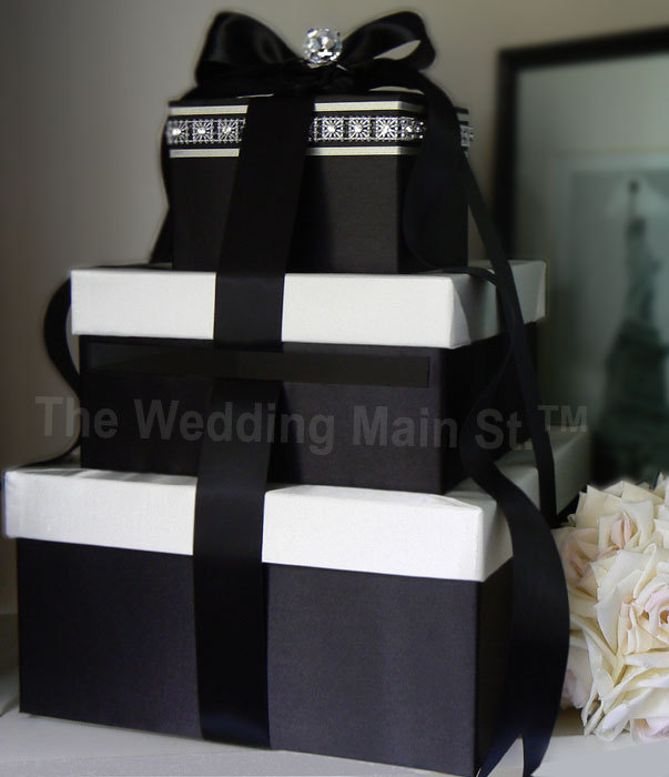 Black And White Wedding Gift Card Box : ... Flowers, Centerpiece, Tiffany, Basket, Box, Card, Damask, Decoration