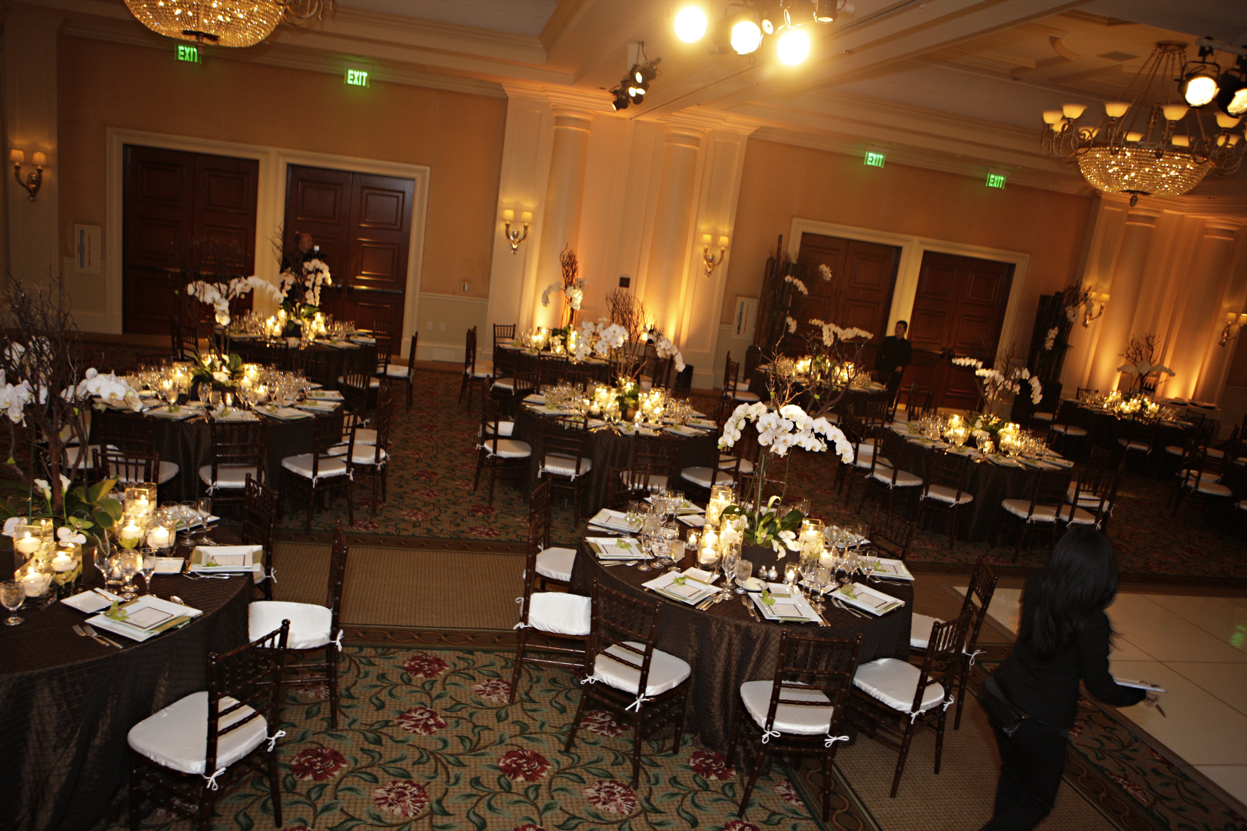 Reception, Flowers & Decor, Decor, green, brown, Flowers, Orchid, Ballroom