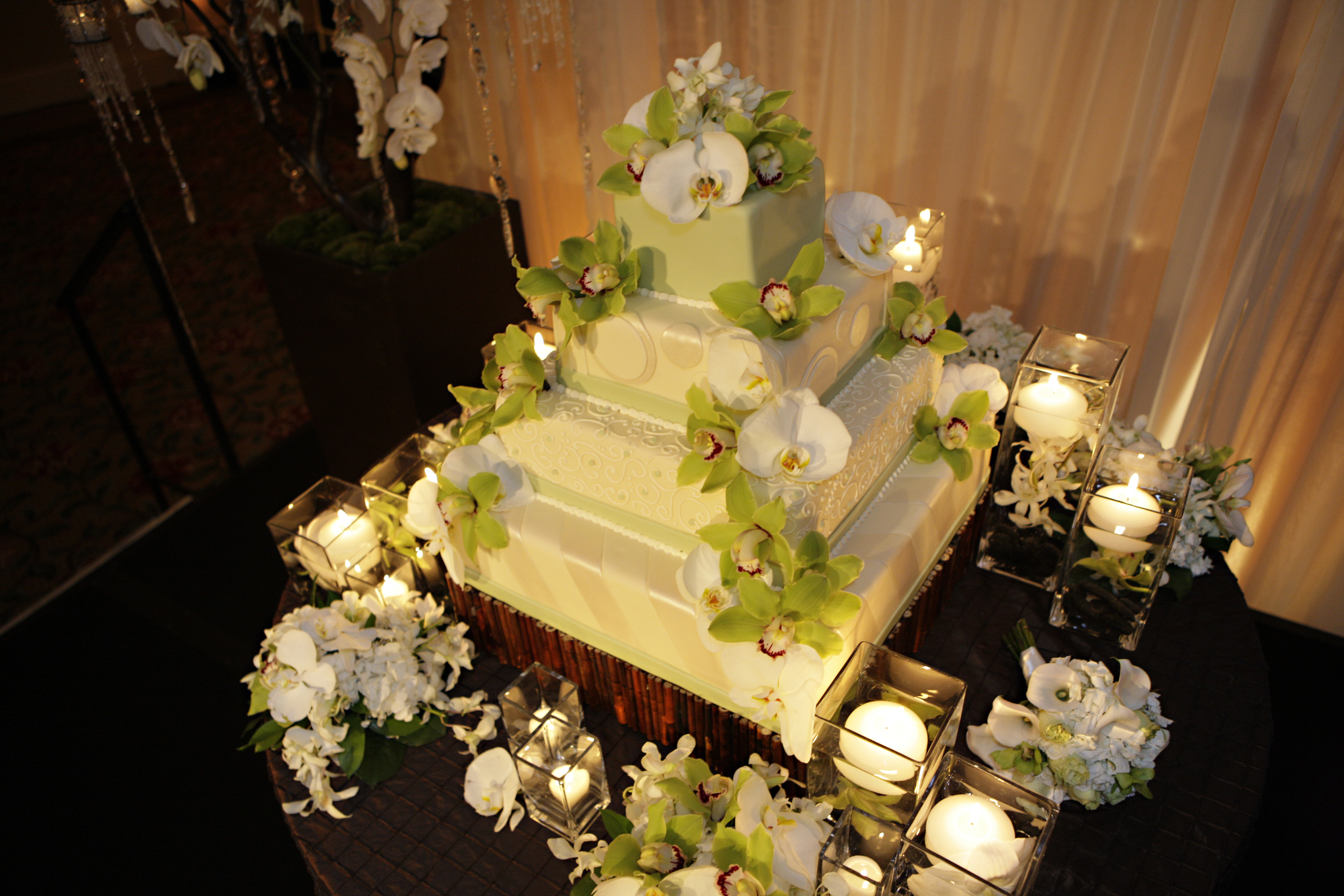 Reception, Flowers & Decor, Decor, Cakes, green, brown, cake, Floral Wedding Cakes, Flowers, Orchid