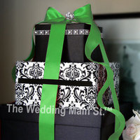 Flowers & Decor, Stationery, green, invitation, Invitations, Flower, Centerpiece, Box, Card, Damask, Decoration, The wedding main st