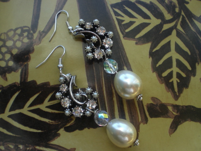 Jewelry, Earrings, Vintage, Pearls, Crystal, Swarovski, Drop, Chandelier, Antique, Belle nouvelle designs