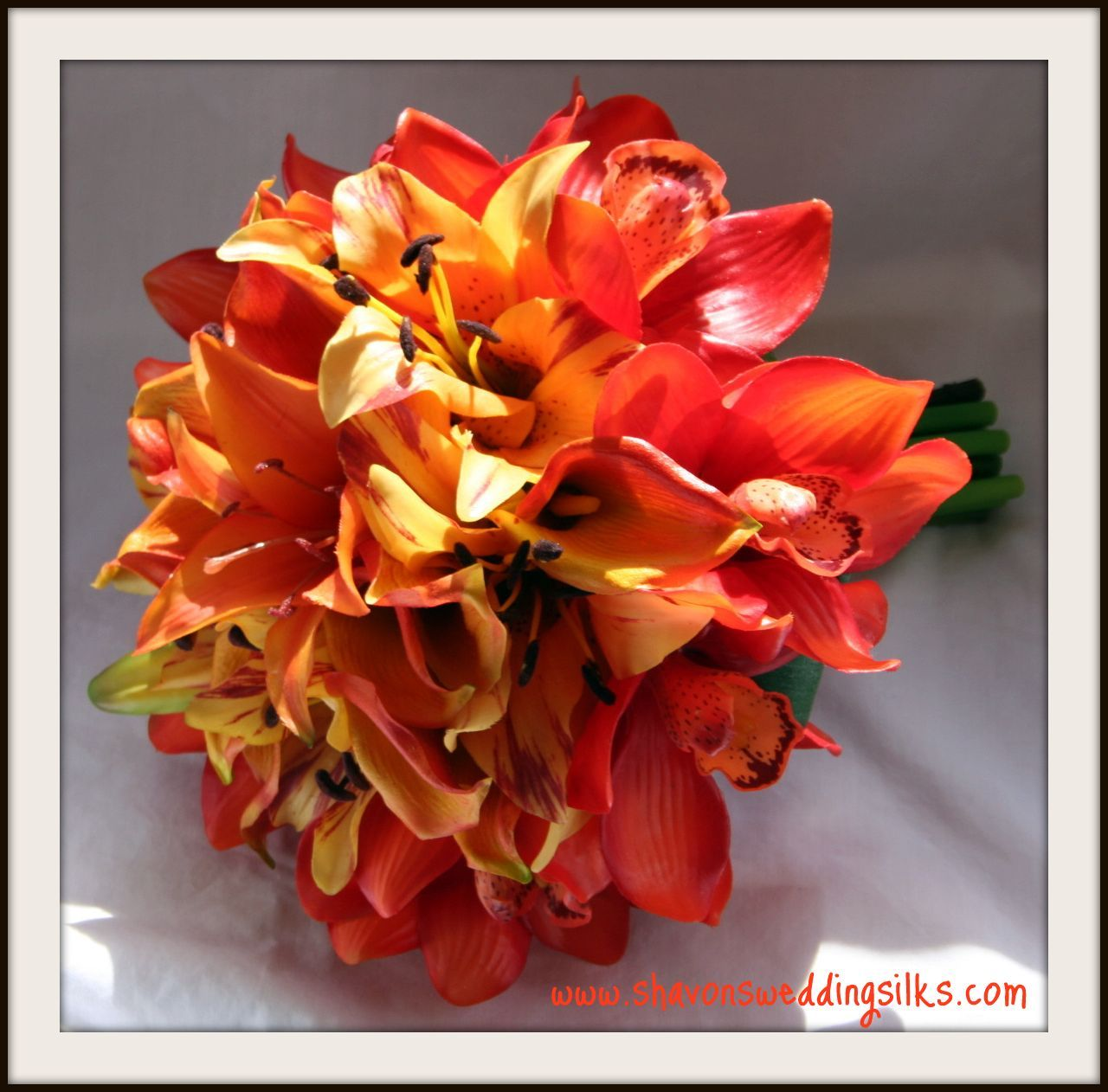 Flowers & Decor, yellow, orange, Bride Bouquets, Flowers, Bouquet, Wedding, Lilies, Cymbidium, Natural, Mango, Touch, Shavons wedding silks, Oriental, Floramatique