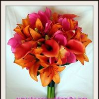 Flowers & Decor, Destinations, orange, pink, Bride Bouquets, Flowers, Bouquet, Wedding, Tropical, Lilies, Destination, Orchids, Bright, Lily, Cymbidium, Hot, Shavons wedding silks