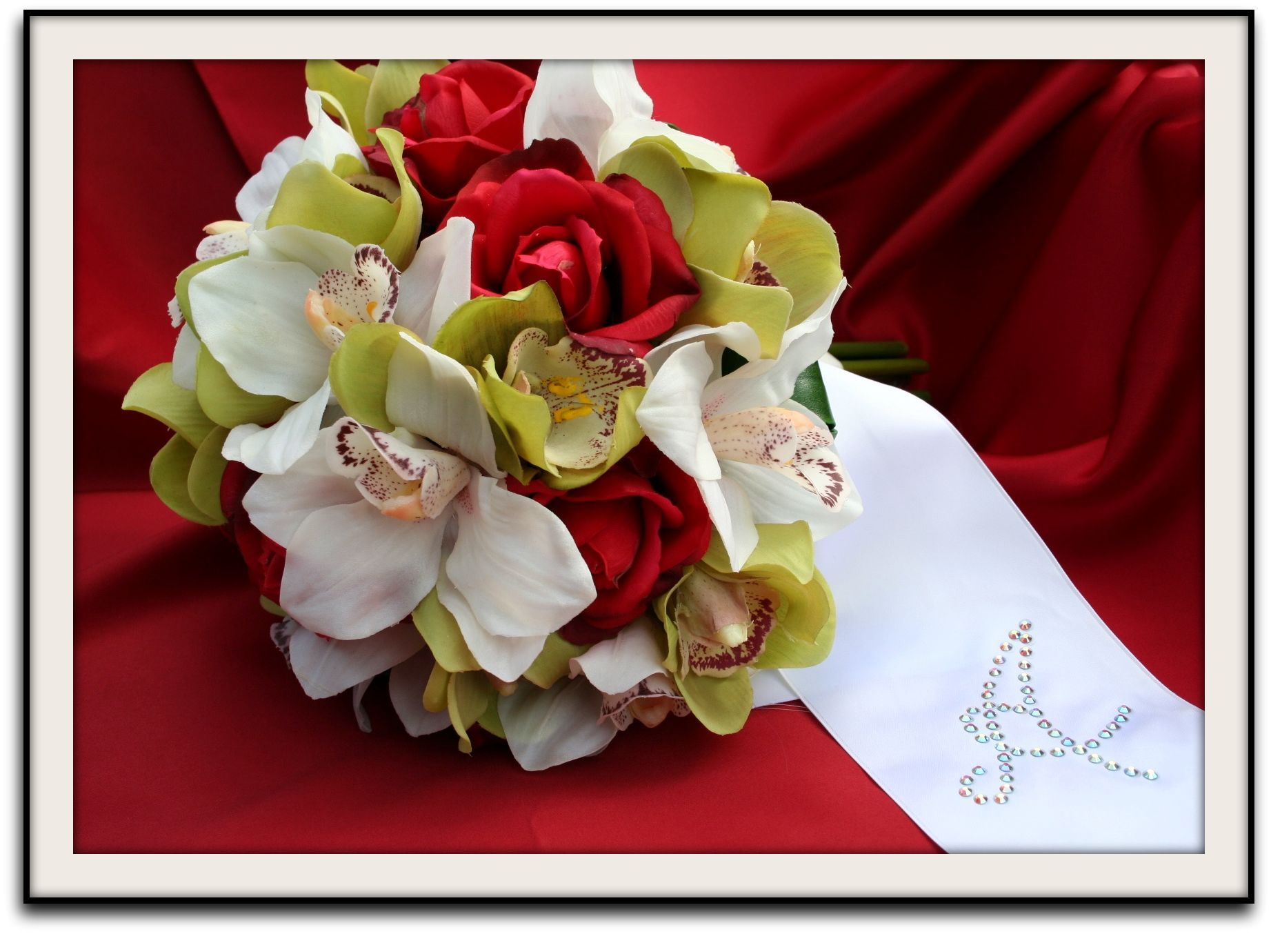Flowers & Decor, white, red, green, Bride Bouquets, Flowers, Roses, Bouquet, Wedding, Sash, Natural, Bling, Crystals, Touch, Shavons wedding silks