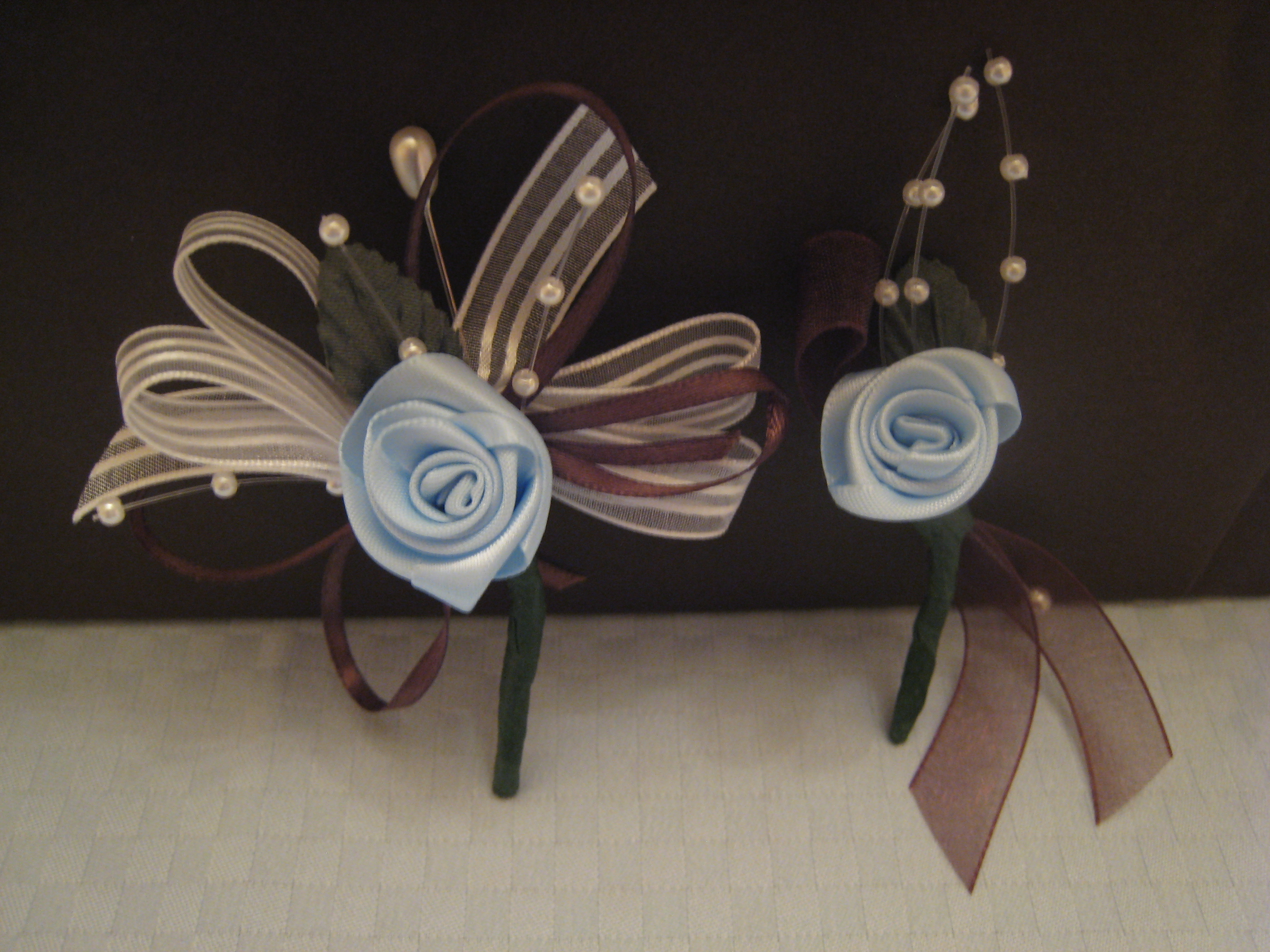 Flowers & Decor, blue, brown, Flower, Ribbon, Corsage, Bout