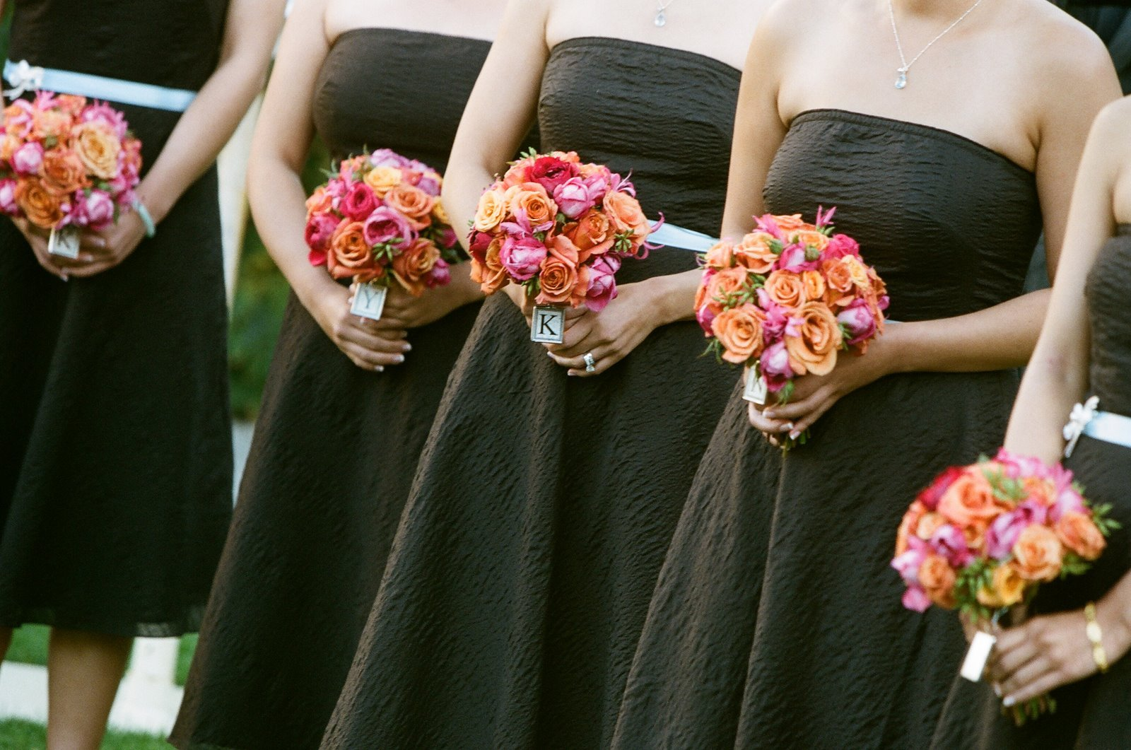Flowers & Decor, Fashion, orange, pink, blue, brown, Bridesmaid Bouquets, Flowers, Bridesmaid, Dresses, Flower Wedding Dresses