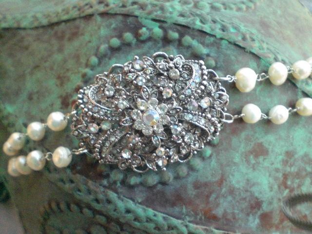 Jewelry, silver, Bracelets, Brooches, Vintage, Pearls, Bracelet, Brooch, Swarovski crystals, Crystals, Antique, Belle nouvelle designs, Brooch bracelet, Freshwater pearls
