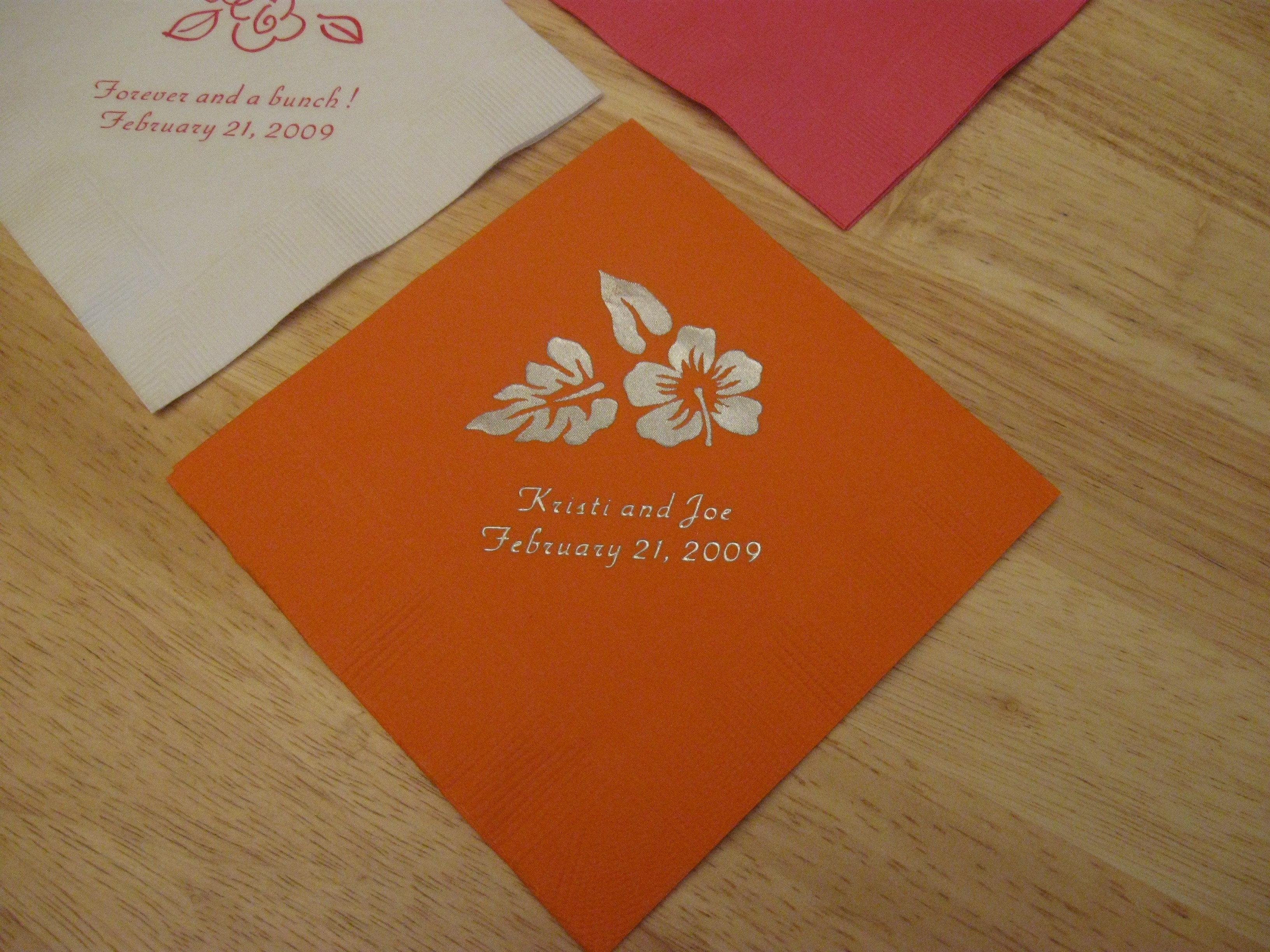 Reception, Flowers & Decor, orange, Hibiscus, Cocktail napkins