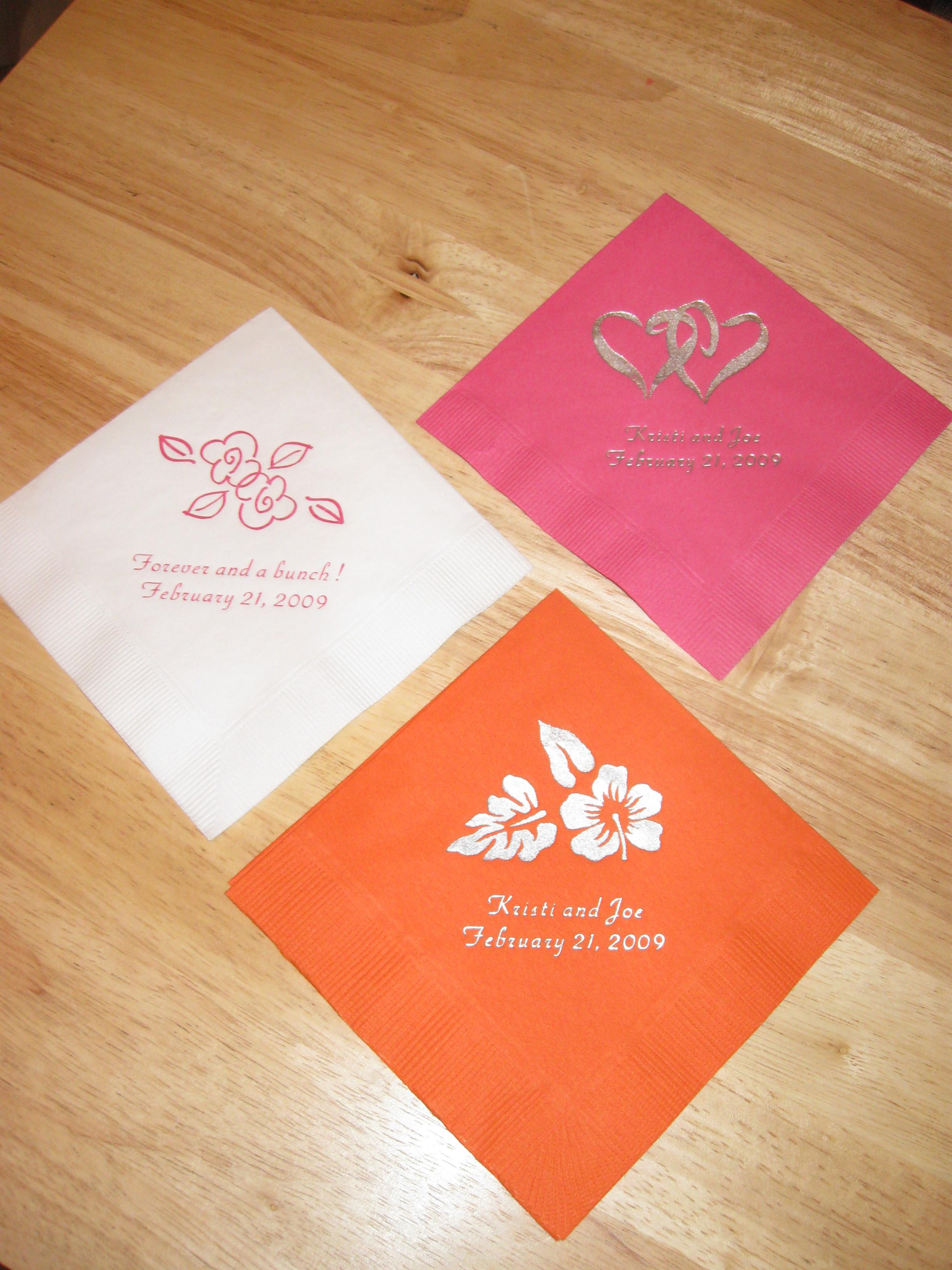 Reception, Flowers & Decor, Cocktail napkins