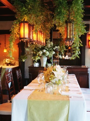 white, green, Rustic, Wedding, Table, And, Runner