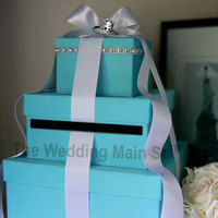 Reception, Flowers & Decor, blue, Centerpieces, Flower, Centerpiece, Wedding, Tiffany, Box, Card, Money, Decoration, Holder, Real