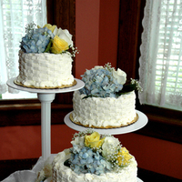 Cakes, yellow, blue, cake, Wedding, And, inc, Weddings by stephanie