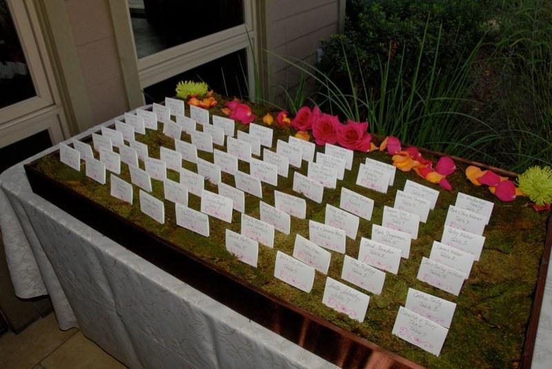 Stationery, orange, pink, Escort Cards, Moss
