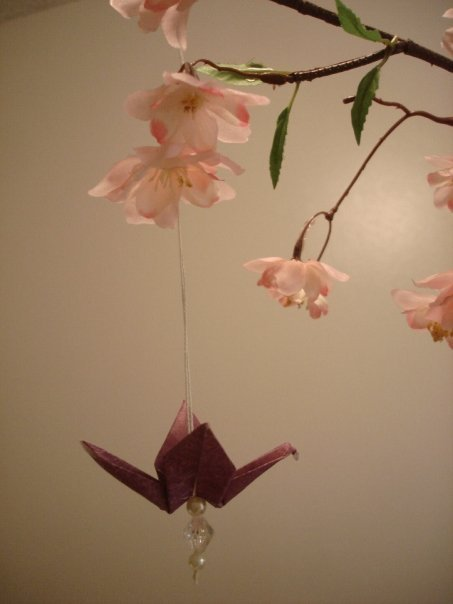 Centerpiece, With, Ornament, Origami, Cranes, Beads