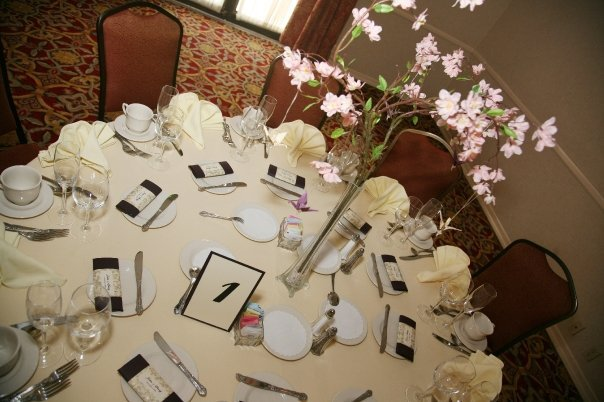 Centerpiece, Table, Cherry, Blossoms, Number, Setting