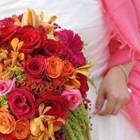Flowers & Decor, orange, pink, Bride Bouquets, Summer, Flowers, Roses, Bouquet, Bridal, Love in bloom, Bright, Berries, Daisies, Hot, Gerber, Amaranthus, Pepper, Celosia