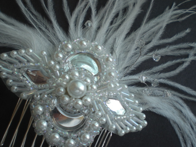 Beauty, Flowers & Decor, Feathers, Comb, Flower, Crystal, Swarovski, Pearl, Fascinator, Hairpiece, Hair piece, Belle nouvelle designs, Hair comb