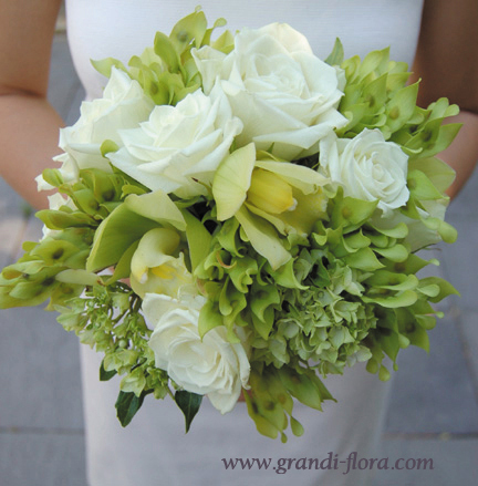 white, green, Bouquet, Grandiflora