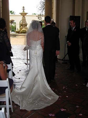 Ceremony, Flowers & Decor, Wedding Dresses, Veils, Fashion, ivory, dress, City, Veil, Train, Wedding, Pasadena, Hall