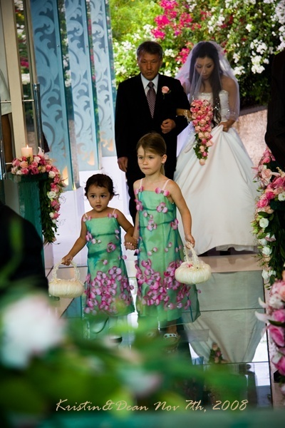 pink, green, Flower girl