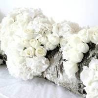 Flowers & Decor, white, Centerpieces, Flowers, Centerpiece, Rose, Hydrangea, Wood