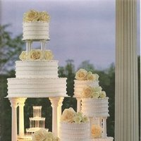 Cakes, white, yellow, cake, Fountain, Tier