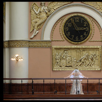 Bride, Photographer, Balcony, M couturier, Clock