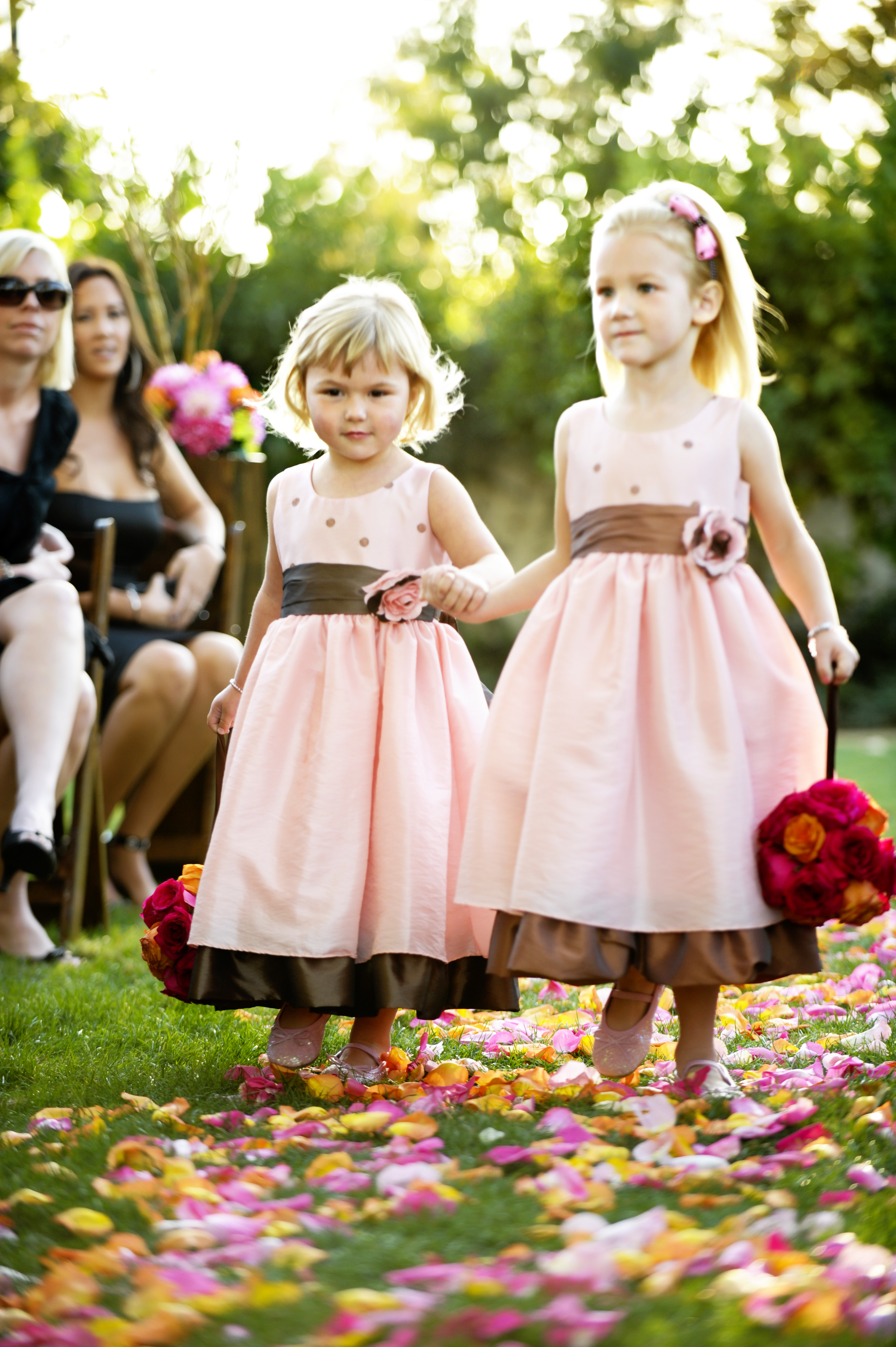 Ceremony, Flowers & Decor, pink, brown, Flower girl, Pomander, Kissing ball
