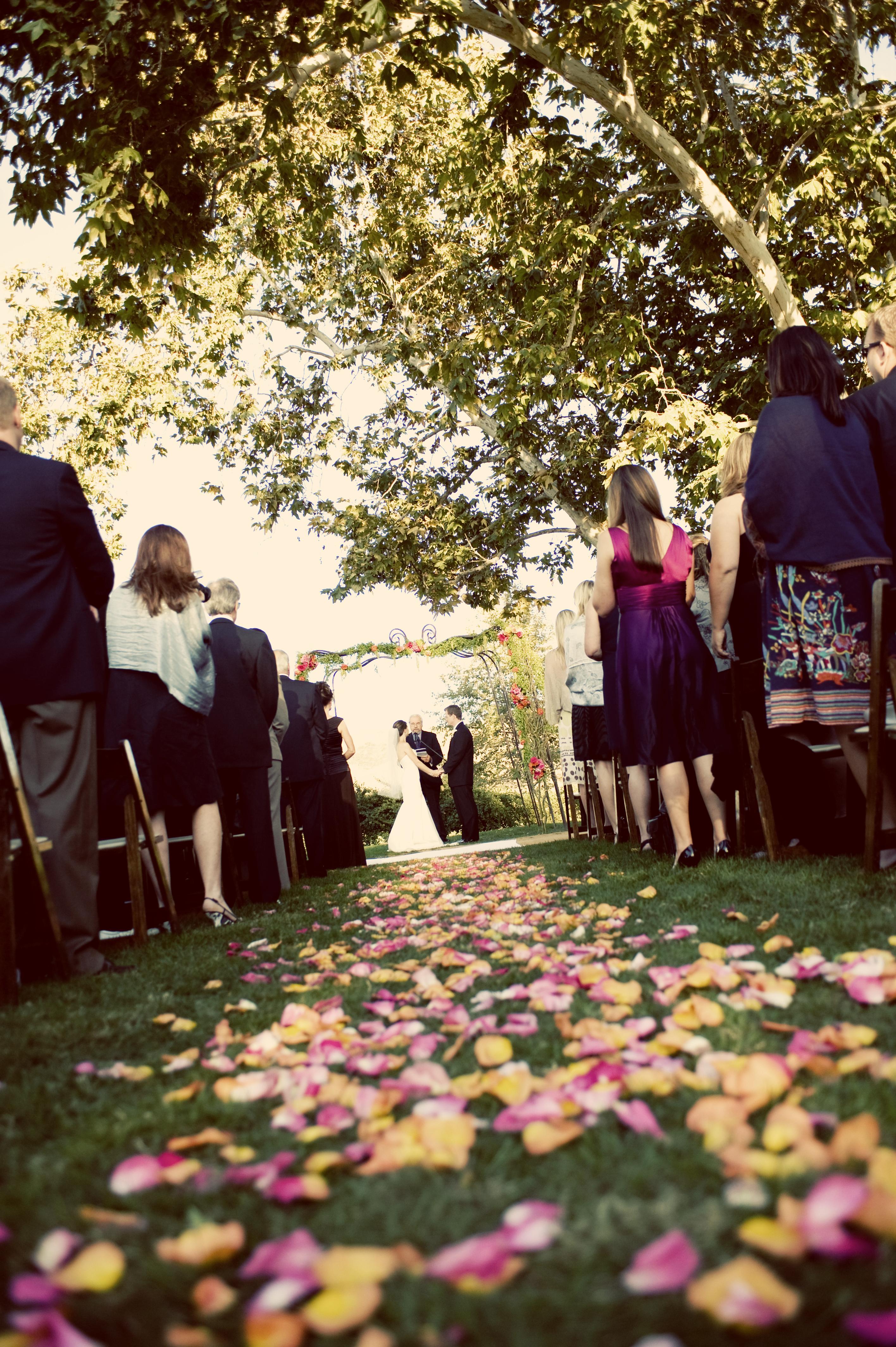 Ceremony, Flowers & Decor, orange, pink, Ceremony Flowers, Aisle Decor, Flowers, Aisle
