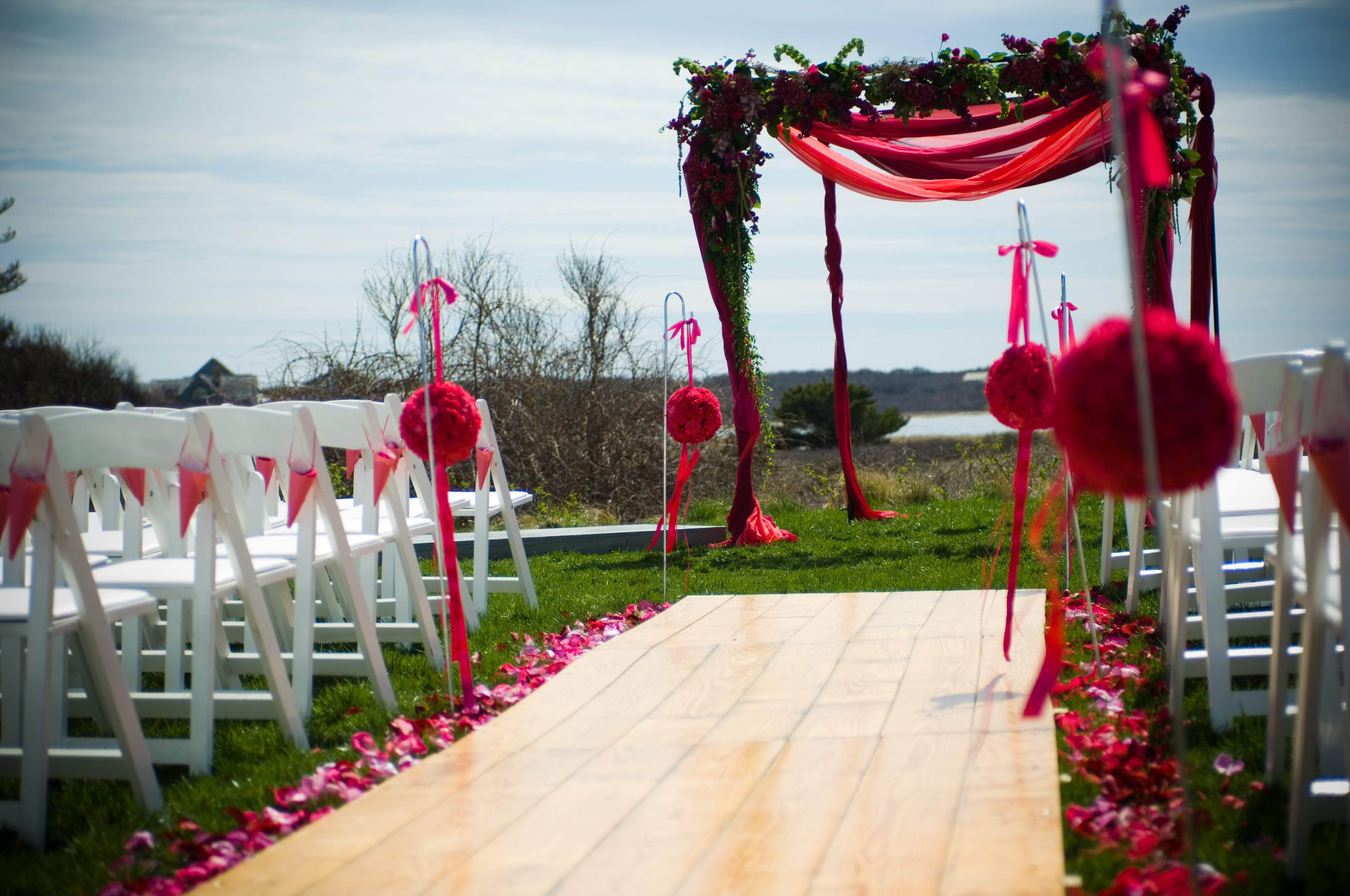 Ceremony, Flowers & Decor, pink, Bride, Roses, Petals, Chuppah, Nantucket, Soiree floral