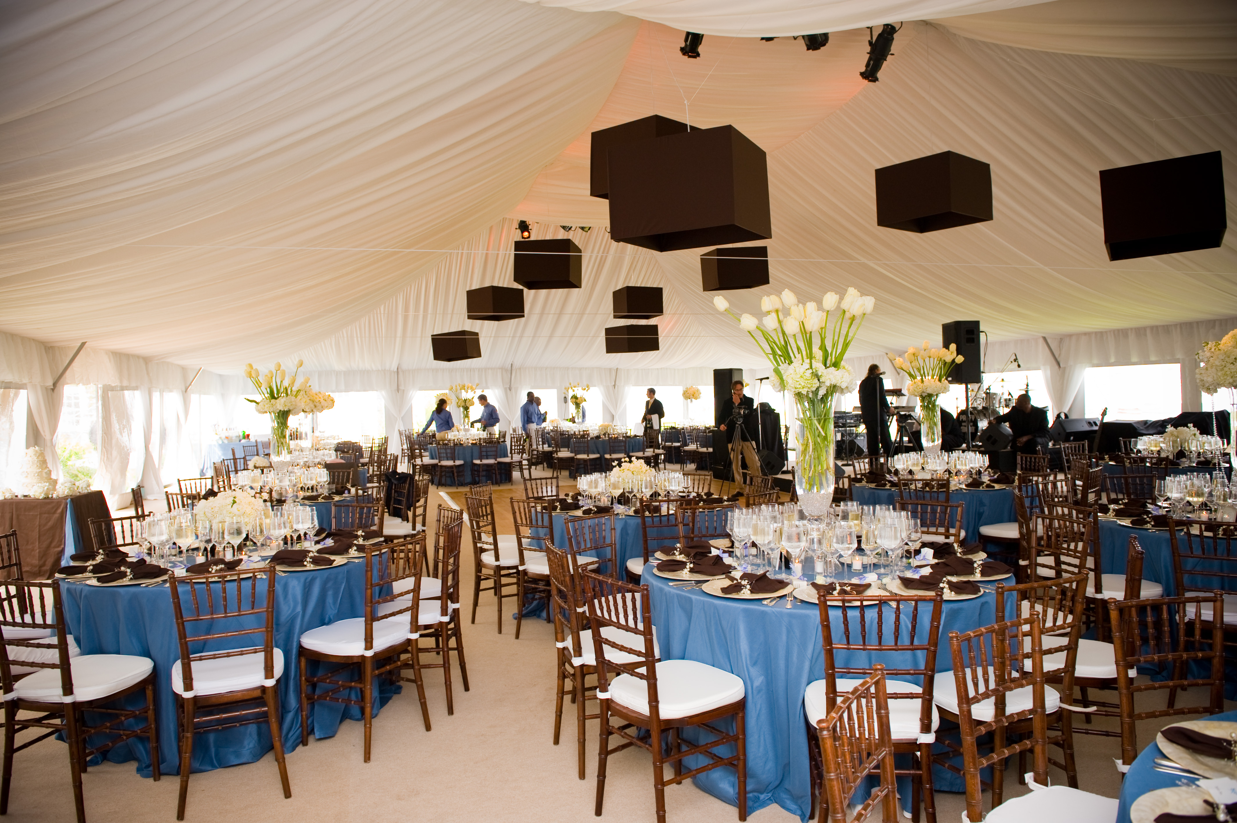 Reception, Flowers & Decor, white, blue, brown, Centerpieces, Lighting, Flowers, Centerpiece, Tent, Specialty, Nantucket, Soiree floral