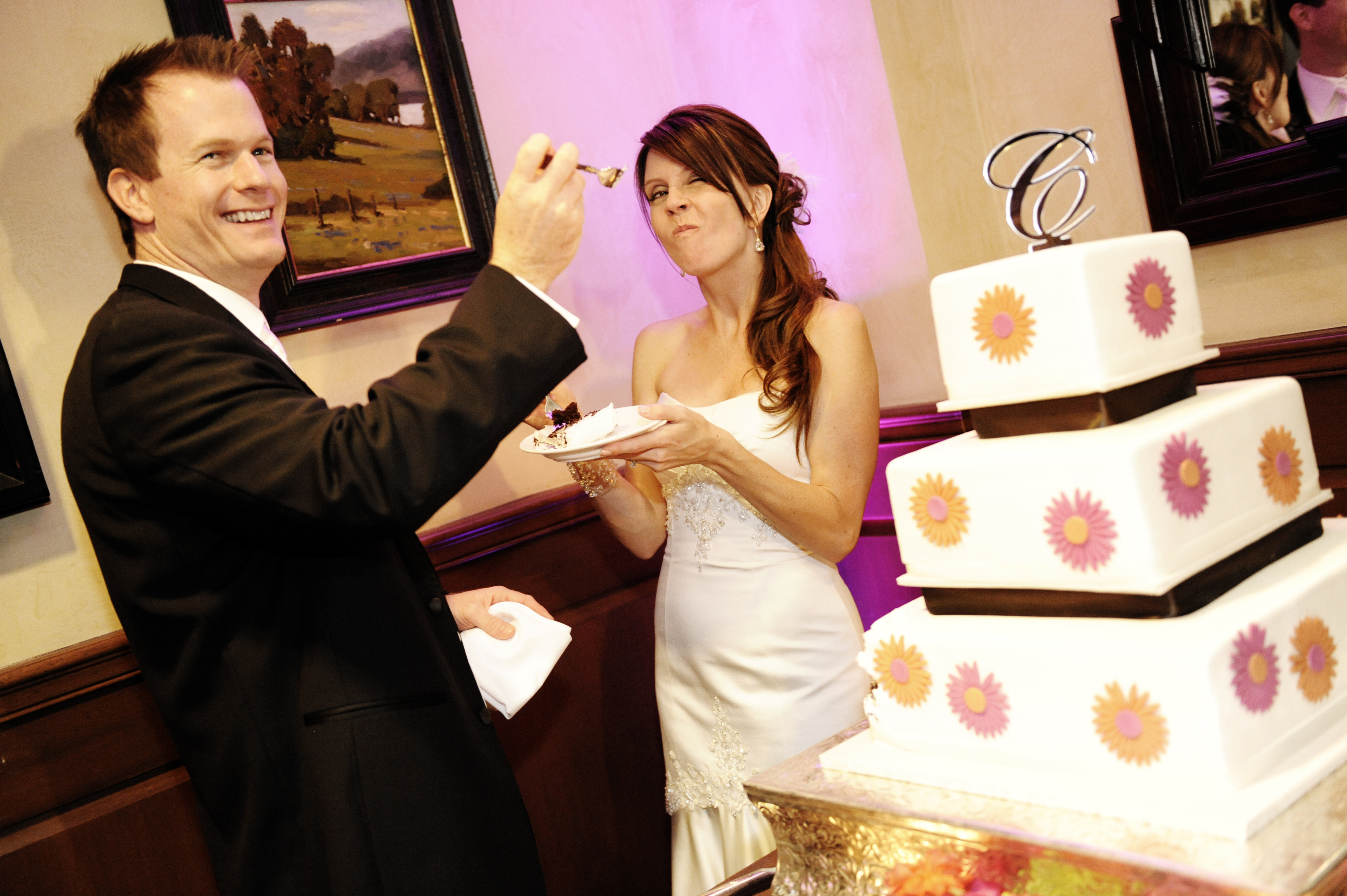 Cakes, orange, pink, brown, cake, Modern, Modern Wedding Cakes, Square Wedding Cakes, Square