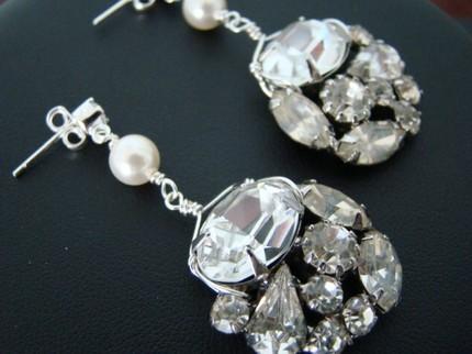 Jewelry, Earrings, And, Rhinestone, Pearl