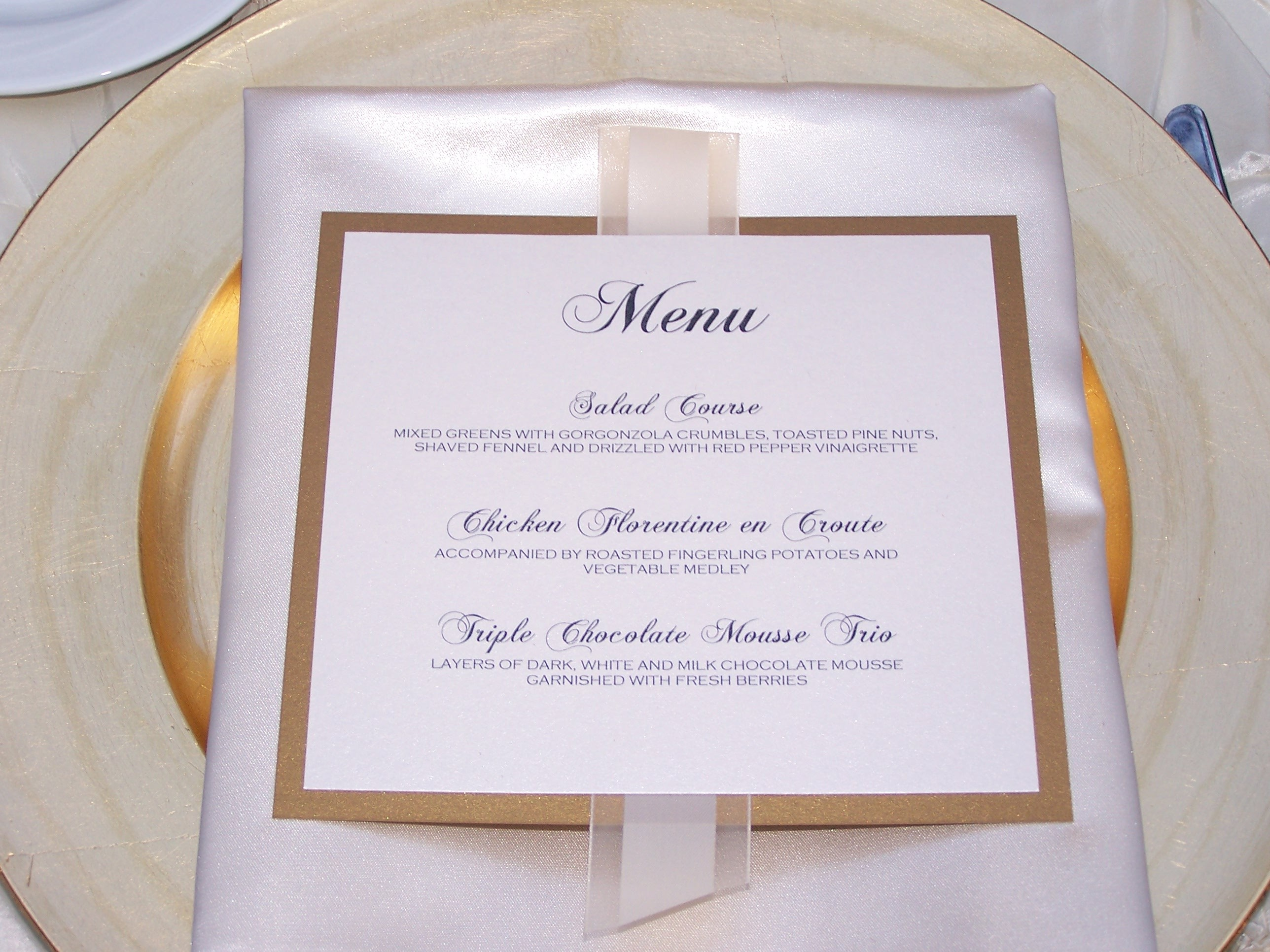 Reception, Flowers & Decor, Decor, Menu, Napkin, Charger, Place setting