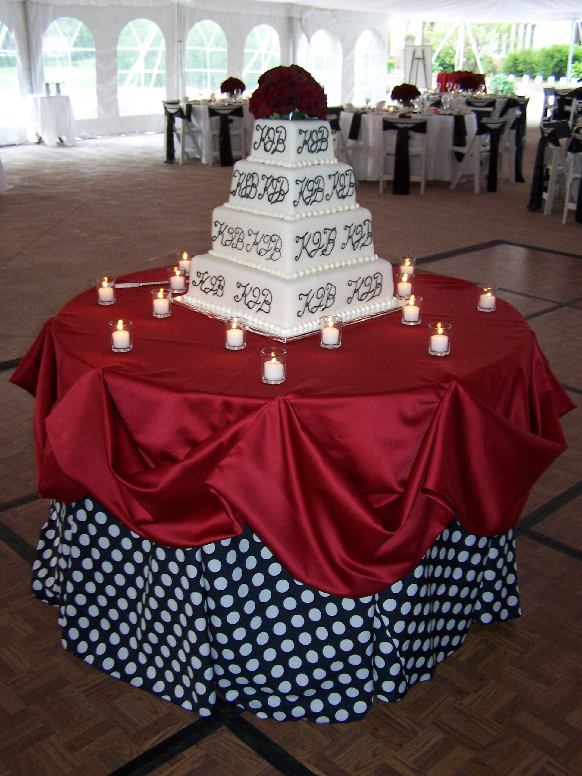 Reception, Flowers & Decor, Decor, Cakes, white, red, black, cake, Flowers, Polka dot