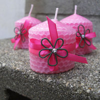 Flowers & Decor, Favors & Gifts, pink, Favors, Eco-Friendly, Candles, Flower, Candle, Ribbons, Natural, Beads, Kokocandles, Honey, Wire, Adorable, Beeswax, Stubby, Honeycomb