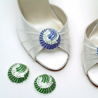 Flowers & Decor, Wedding Dresses, Shoes, Fashion, blue, green, silver, dress, Accessories, Flower, Bridal shoes, Designer, Attire, Rhinestones, Absolutely audrey, Footwear, Stilettos, Shoe clips, Bridesmaids shoes, Enamel