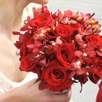 Flowers & Decor, red, Bride Bouquets, Flowers, Roses, Bouquet, Bridal, Butterfly, Orchids, Love in bloom, Handtied, Mokara, Singapore
