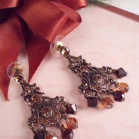 Jewelry, Earrings, Chandelier, Copper