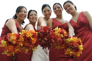 Flowers & Decor, orange, red, Flowers, Roses, Bridal, Orchids, Love in bloom, Sunset, Bouquets, Mokara, Circue, Brilliant