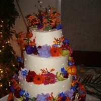 Flowers & Decor, Cakes, purple, cake, Flowers, Lilies, Love in bloom, Dahlias, Daisies, Gloriosa, Gerber, Colrs, Jewl, Hydranea