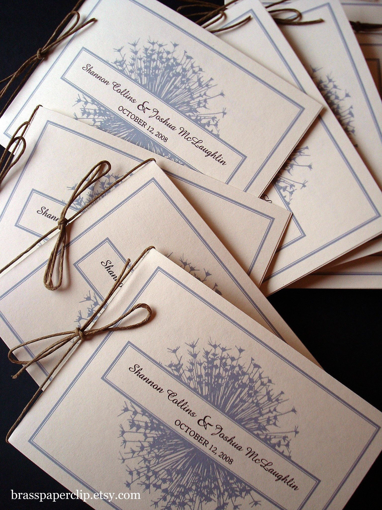 Ceremony, Flowers & Decor, Stationery, Invitations, Ceremony Programs, Programs, Custom, Brass paperclip