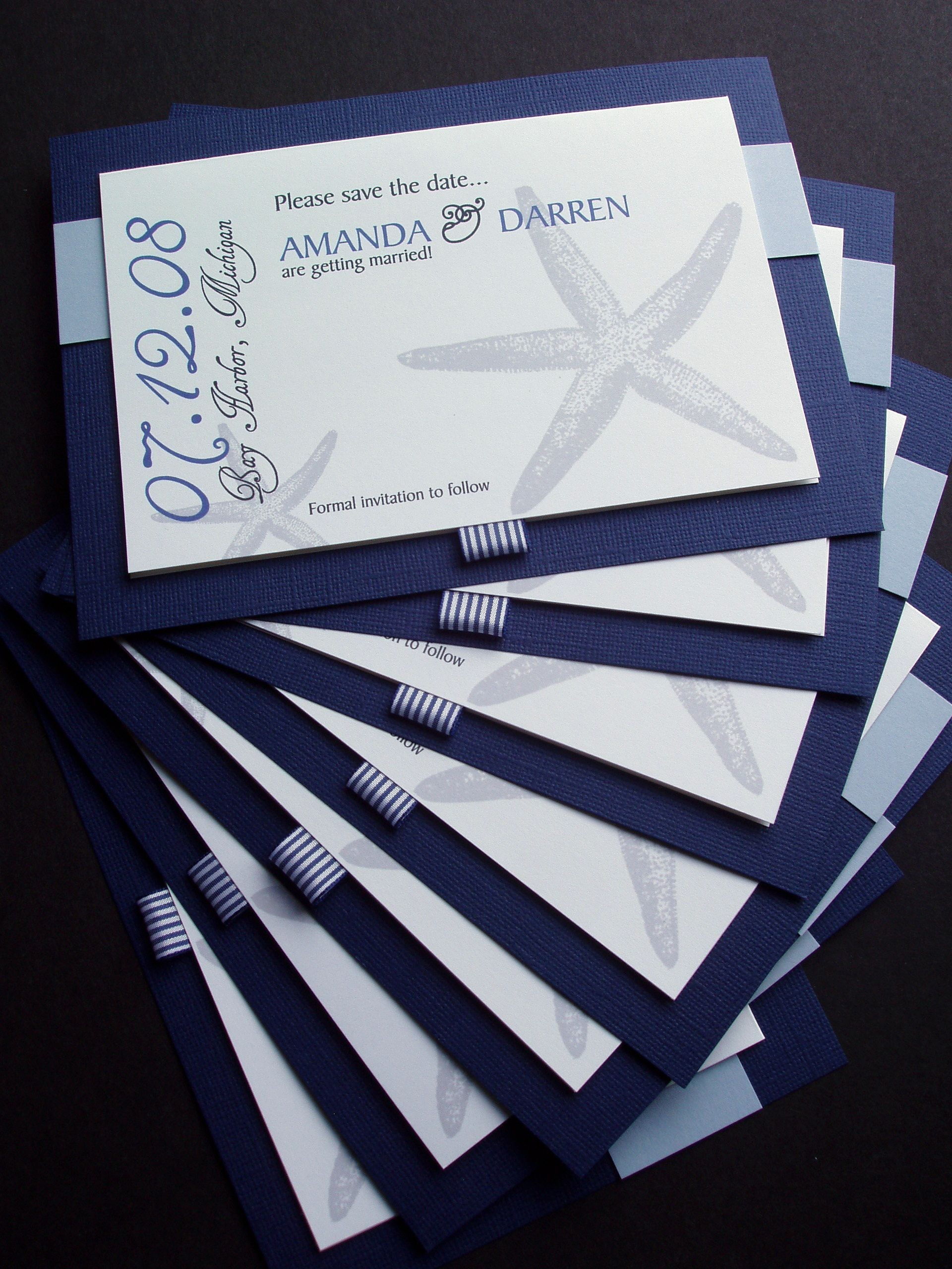 Stationery, Invitations, Save the date, Custom, Nautical, Starfish, Navy, Paperclip, Brass