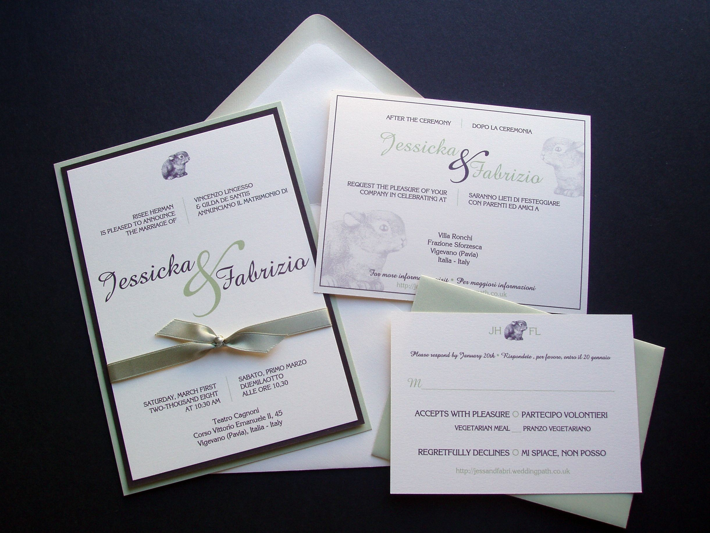 Reception, Flowers & Decor, Stationery, Invitations, Custom, Italian, Paperclip, Brass, Bi-lingual