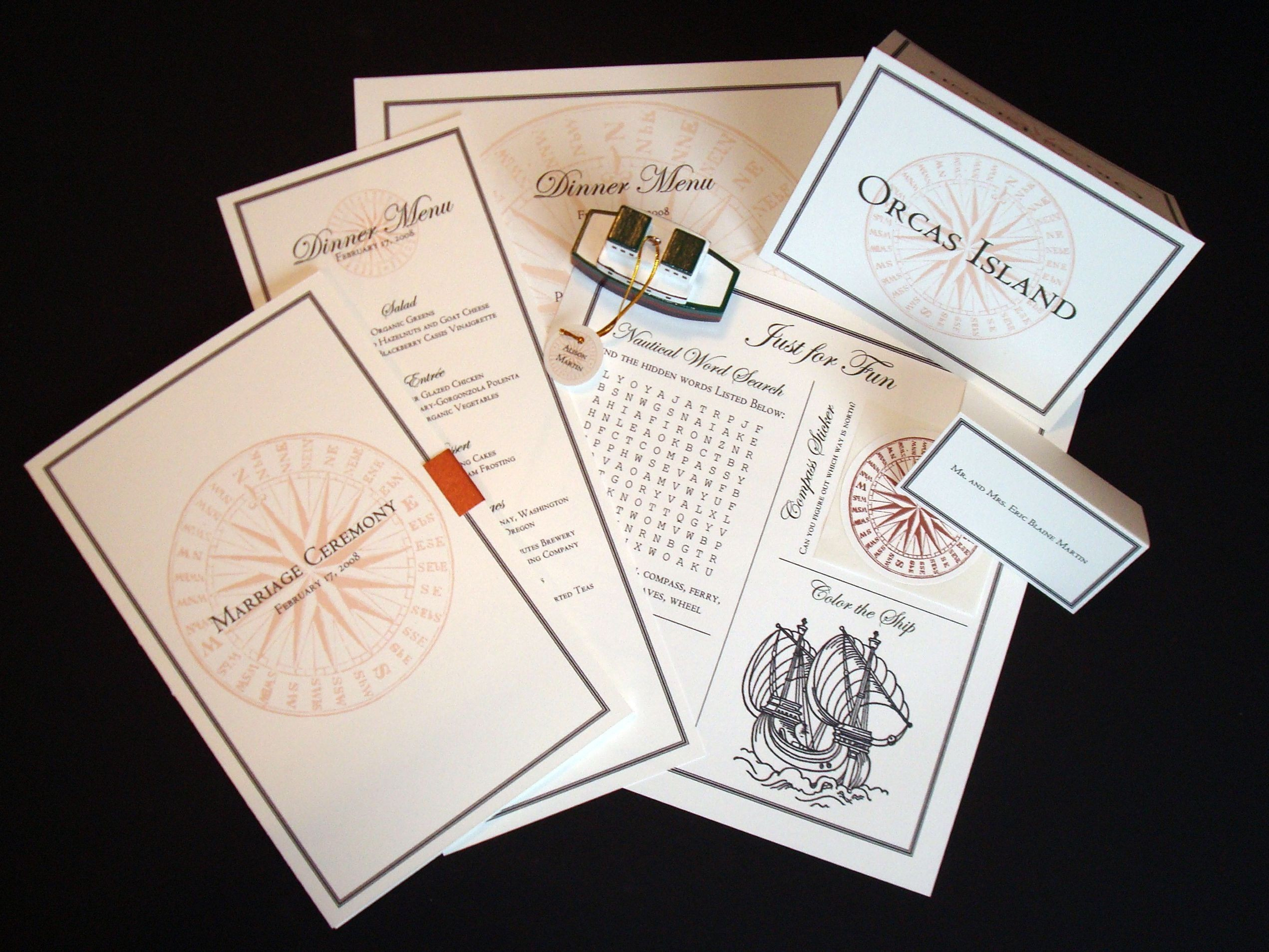 Ceremony, Reception, Flowers & Decor, Favors & Gifts, Stationery, ivory, green, favor, Ceremony Programs, Menu, Programs, Menus, Cards, Escort, Wedding, Custom, Nautical, Weddings, Place, Tags, Copper, Placemat, Childrens, Brass paperclip, Paperclip, Brass, Compass