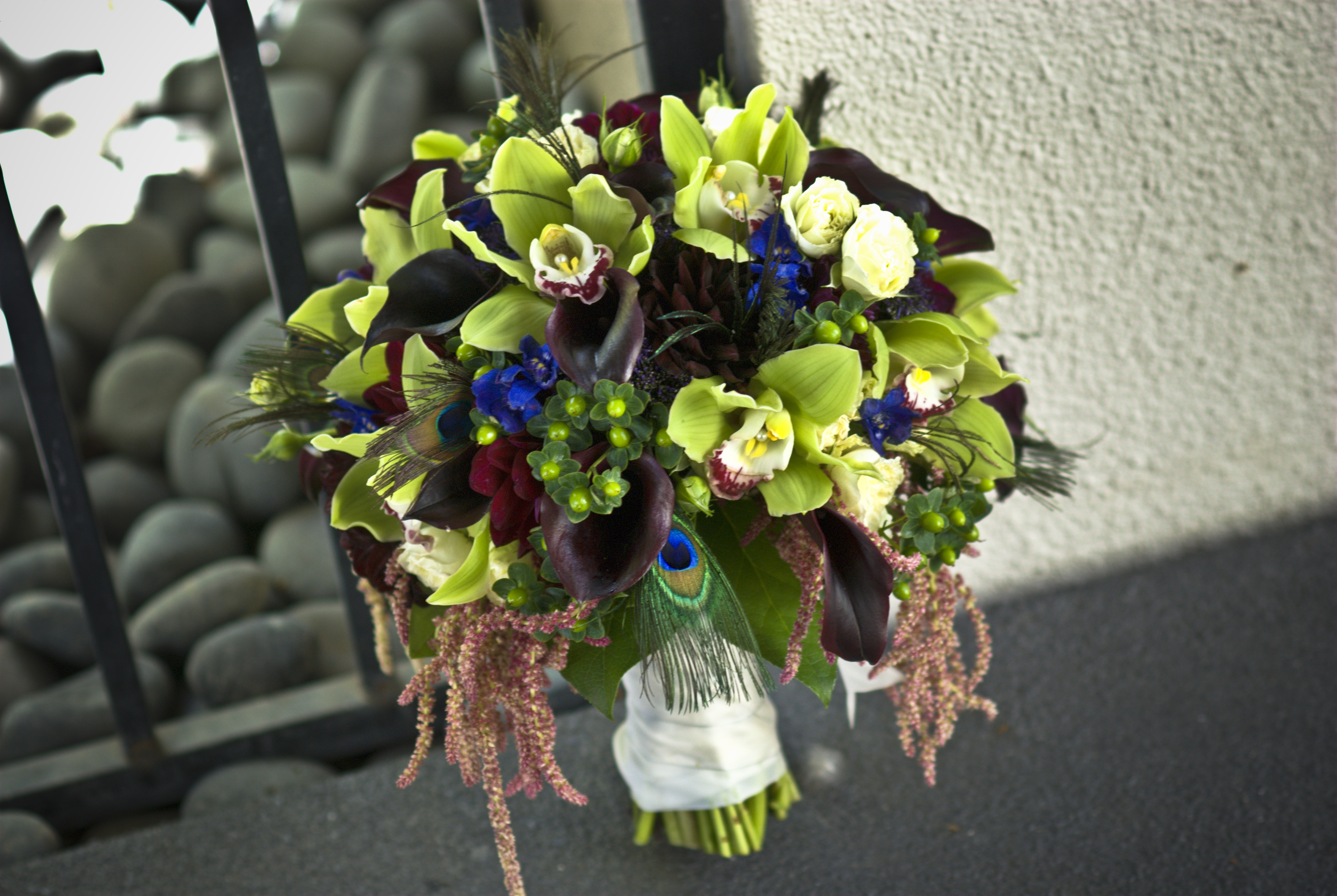 Beauty, green, Feathers, Bouquet, Calla, Bridal, Orchids, Peacock