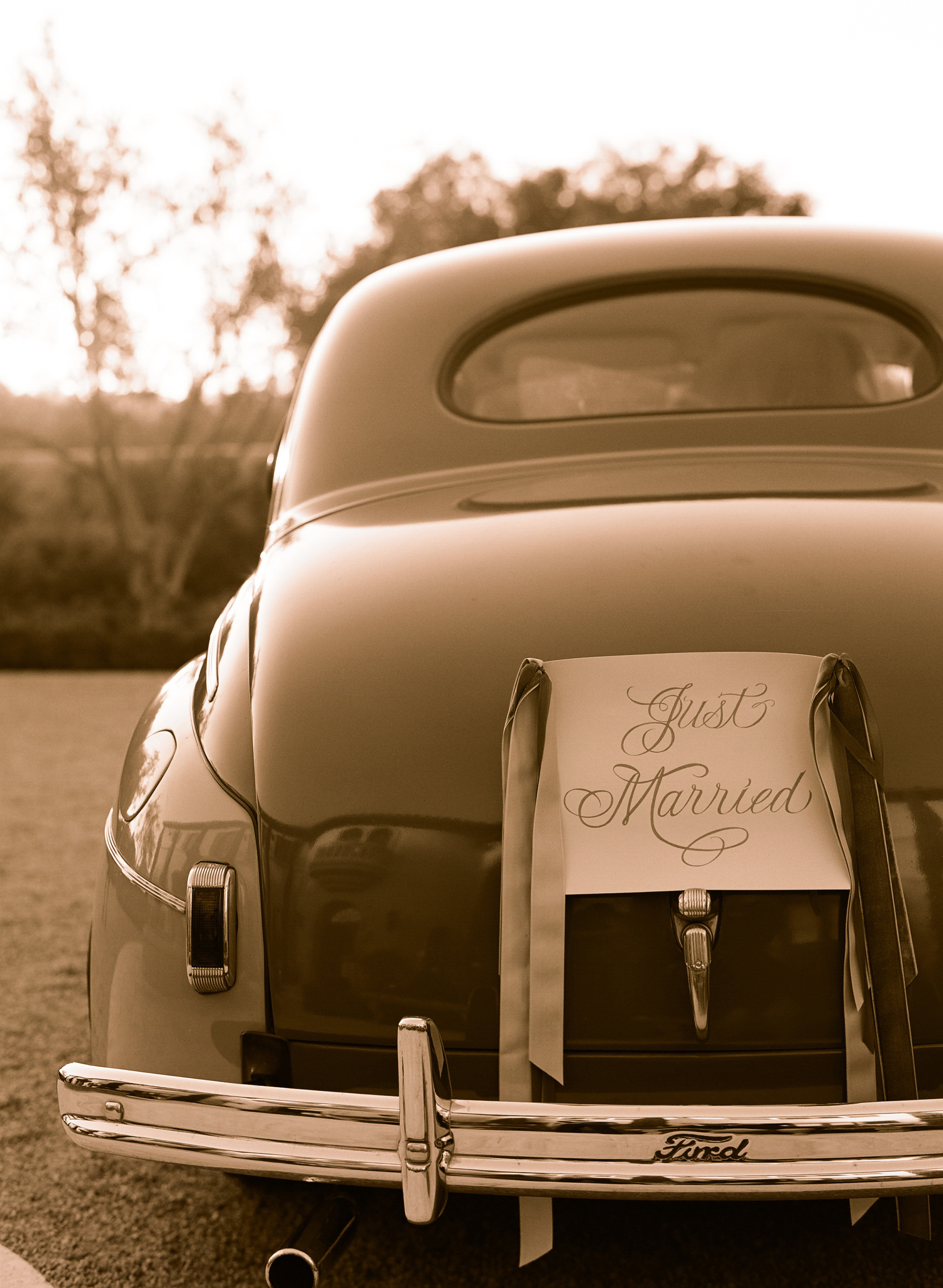 Vintage, Wedding, Car, Married, Elizabeth, Just, Valley, Ojai, Messina