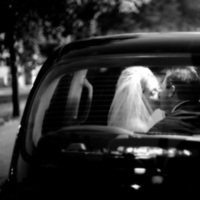 Bride, Groom, Kiss, Photographer, Limo, Taxi, M couturier