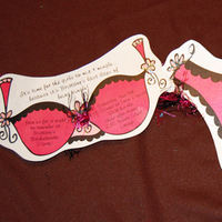 Stationery, pink, black, Invitations, Party, Shoe, Bachelorette, Cute, Single, Bra, Lindsey ryan design, Darling, Panty